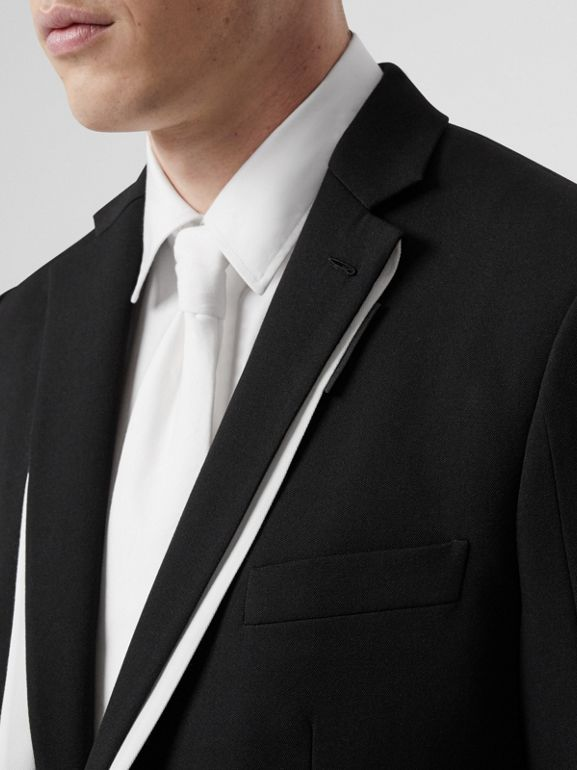 English Fit Double-front Detail Wool Tailored Jacket in Black | Burberry - cell image 1