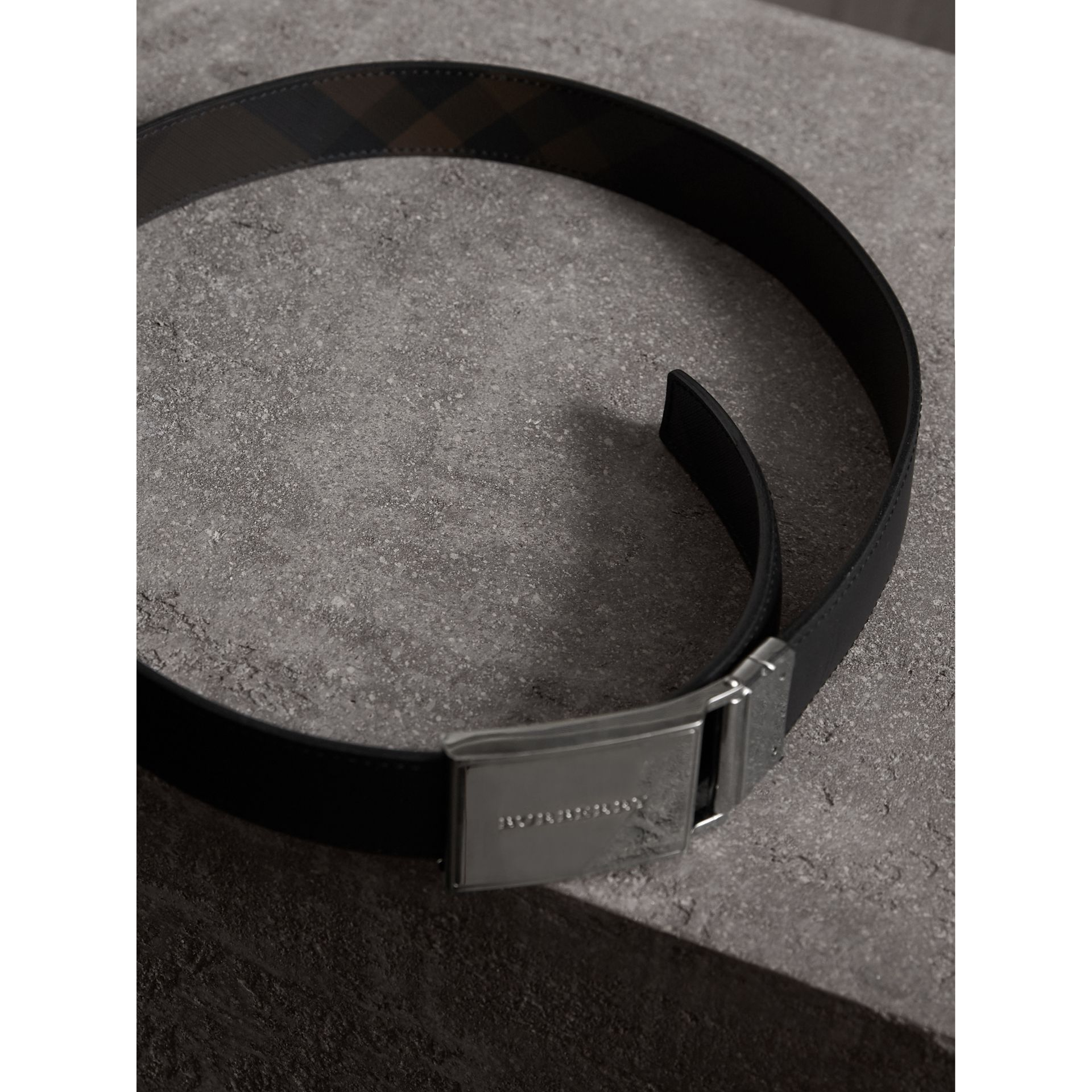 Reversible London Check and Leather Belt in Black - Men | Burberry - gallery image 6