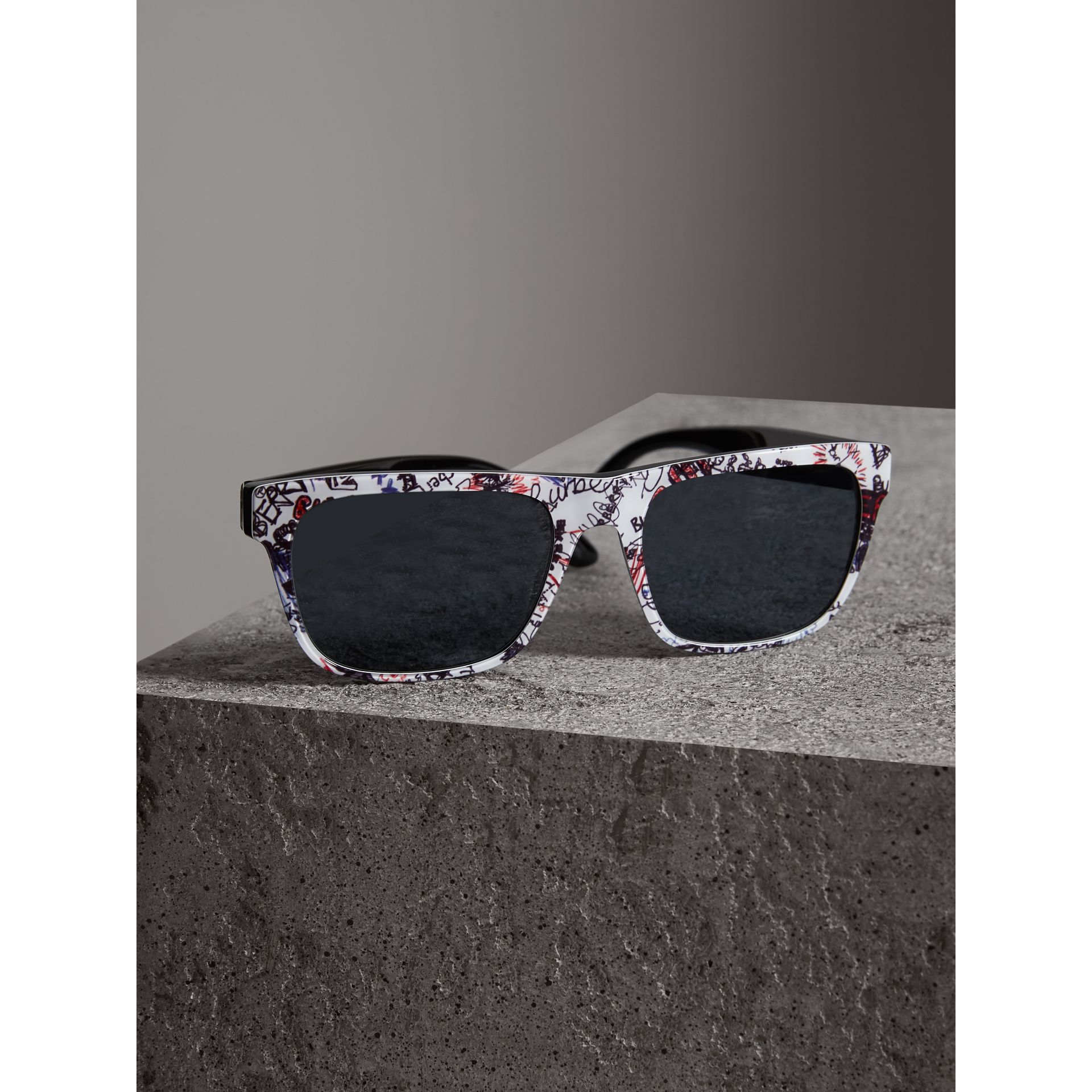 Doodle Square Frame Sunglasses in White - Men | Burberry United States - gallery image 2