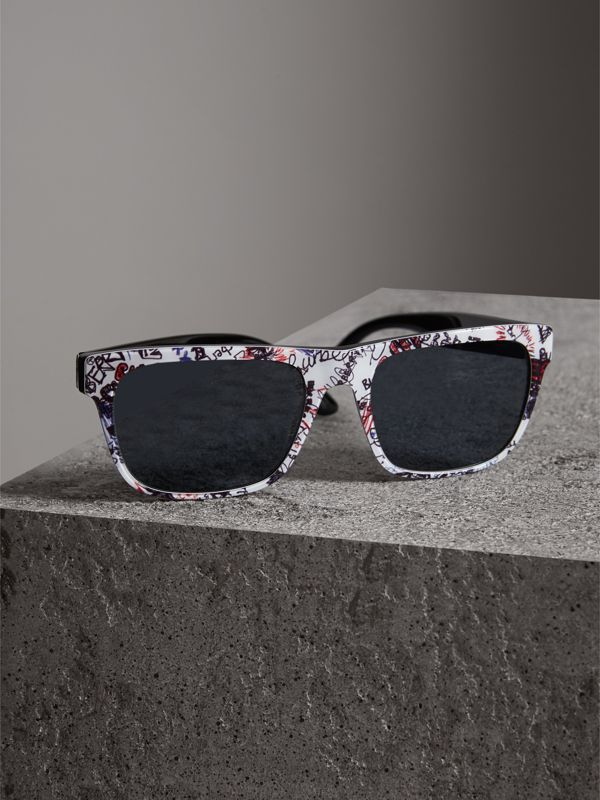 Doodle Square Frame Sunglasses in White - Men | Burberry - cell image 2