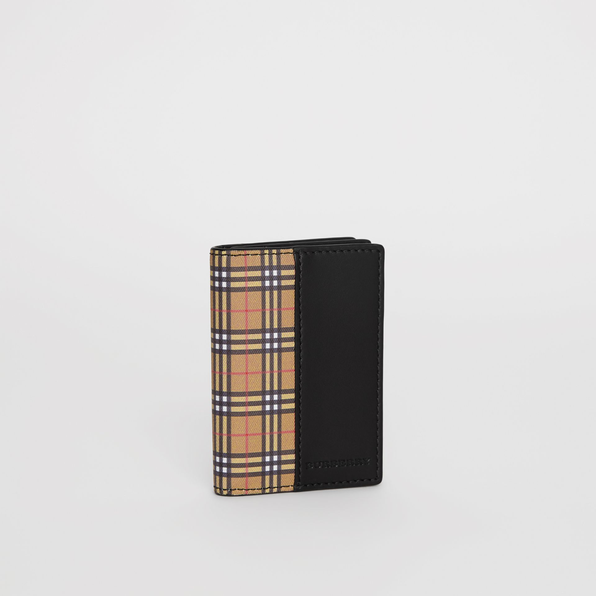 Small Scale Check and Leather Folding Card Case in Antique Yellow/black - Men | Burberry - gallery image 4