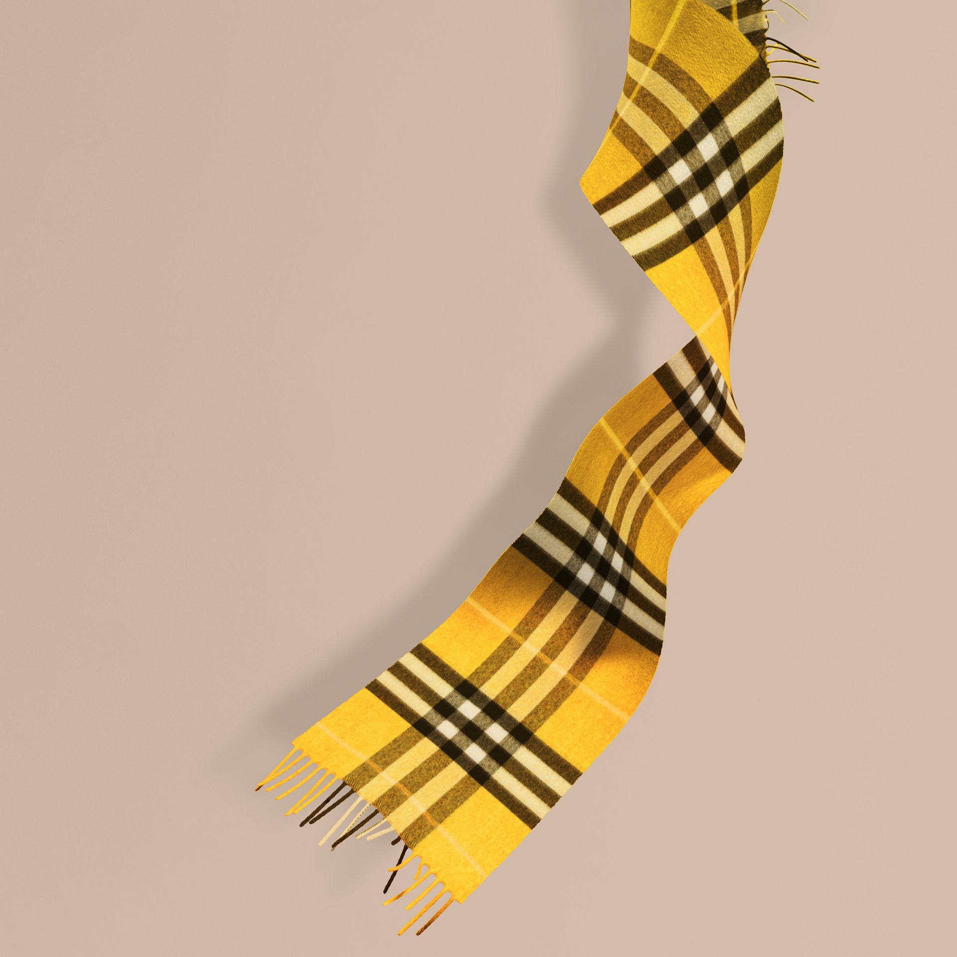 Gorse yellow The Mini Classic Cashmere Scarf in Check - gallery image 1
