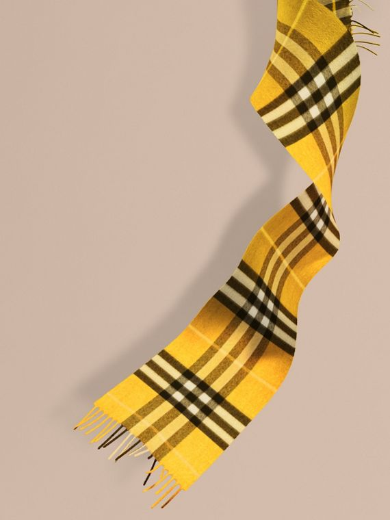 The Mini Classic Cashmere Scarf in Check in Gorse Yellow | Burberry