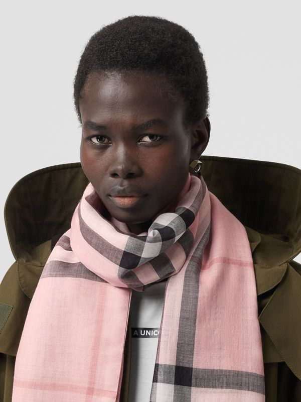 Lightweight Check Wool and Silk Scarf in Ash Rose | Burberry Australia - cell image 2