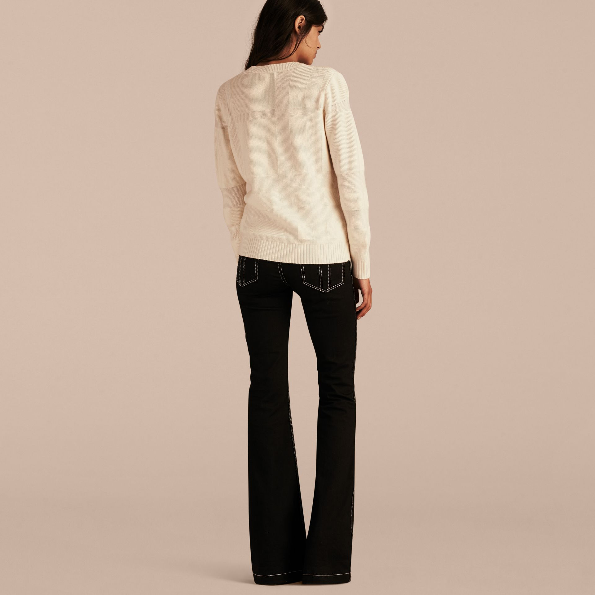 Check-knit Wool Cashmere Sweater Natural White - gallery image 3