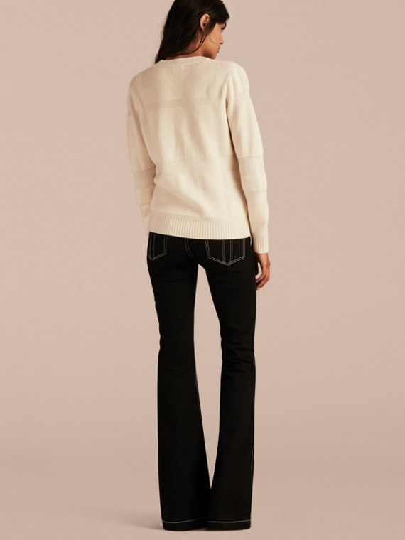 Natural white Check-knit Wool Cashmere Sweater Natural White - cell image 2