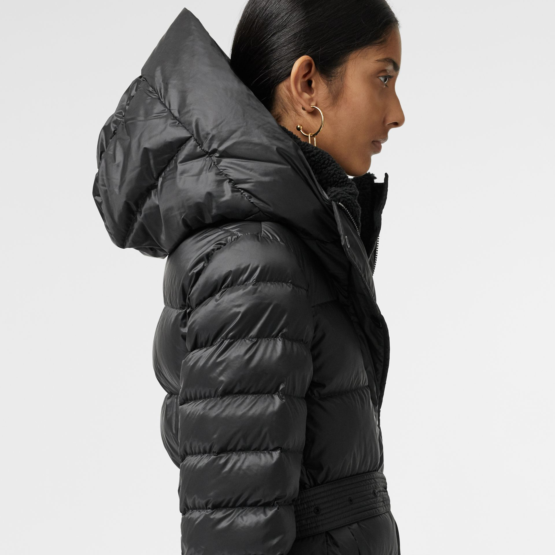 Down-filled Hooded Puffer Coat in Black - Women | Burberry Canada - gallery image 4