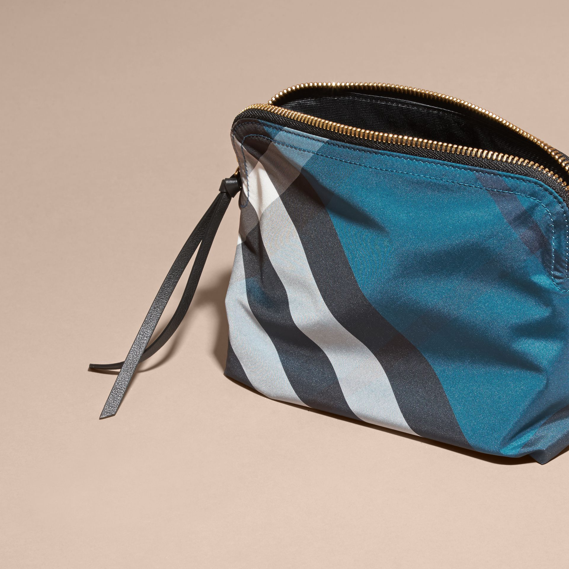 Large Zip-top Check Pouch in Marine Blue - Women | Burberry - gallery image 4