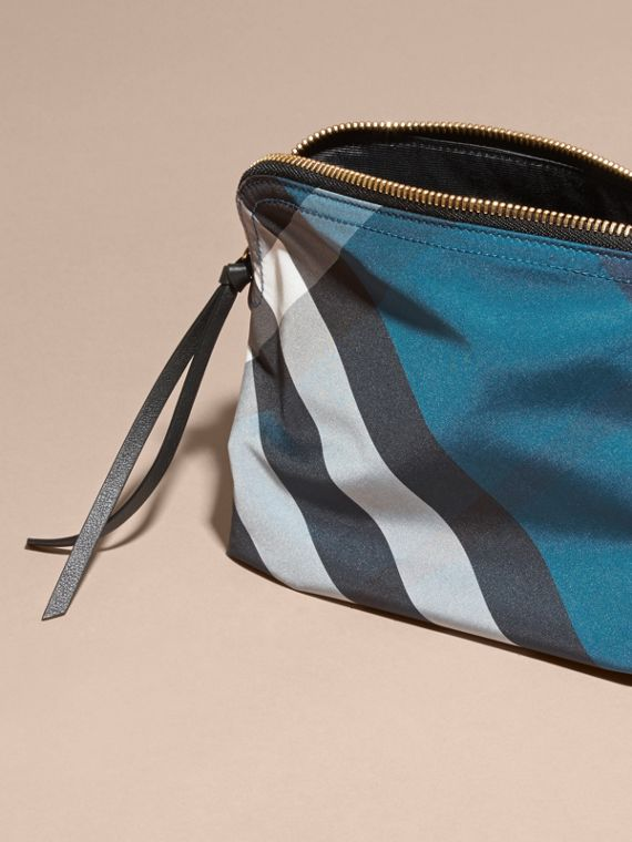 Large Zip-top Check Pouch in Marine Blue - Women | Burberry Australia - cell image 3