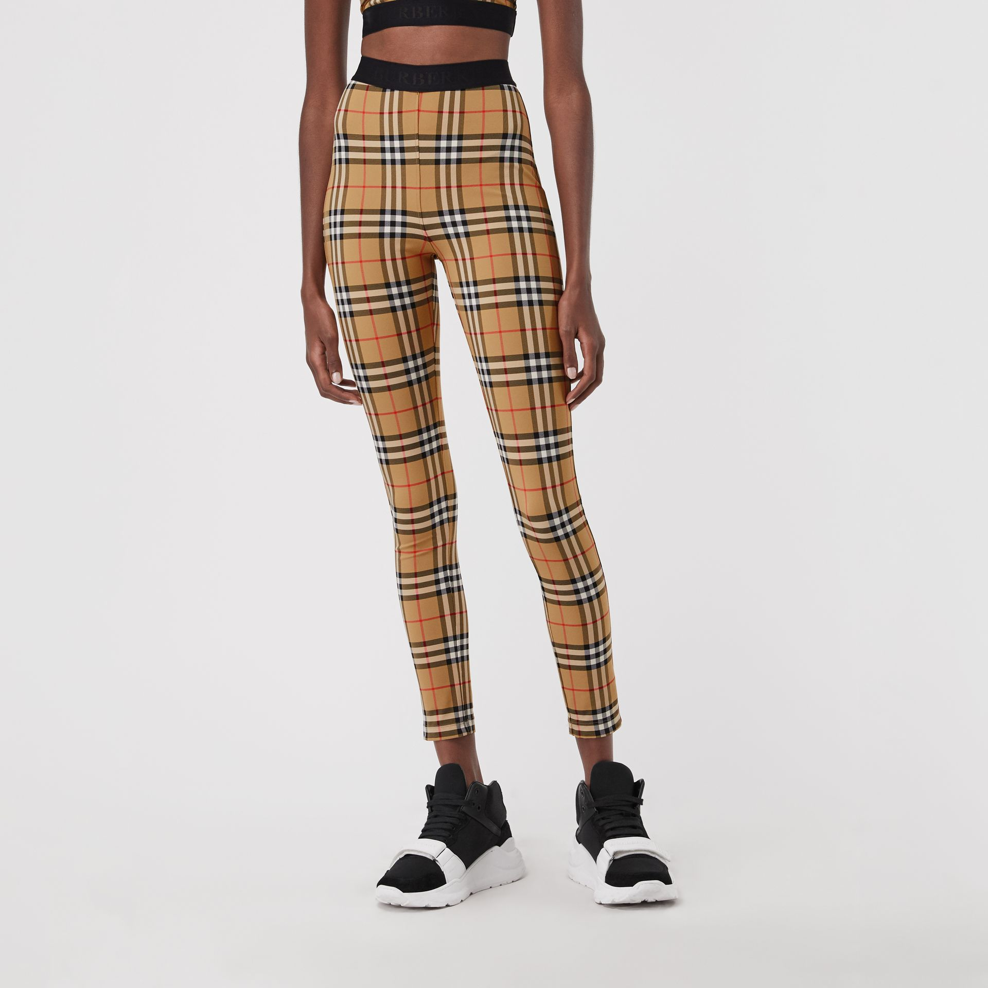 Vintage Check Leggings in Antique Yellow Chk - Women | Burberry United Kingdom - gallery image 1