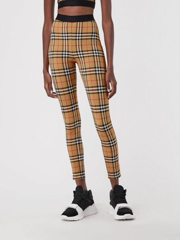 Vintage Check Leggings in Antique Yellow Chk - Women | Burberry United Kingdom - cell image 1