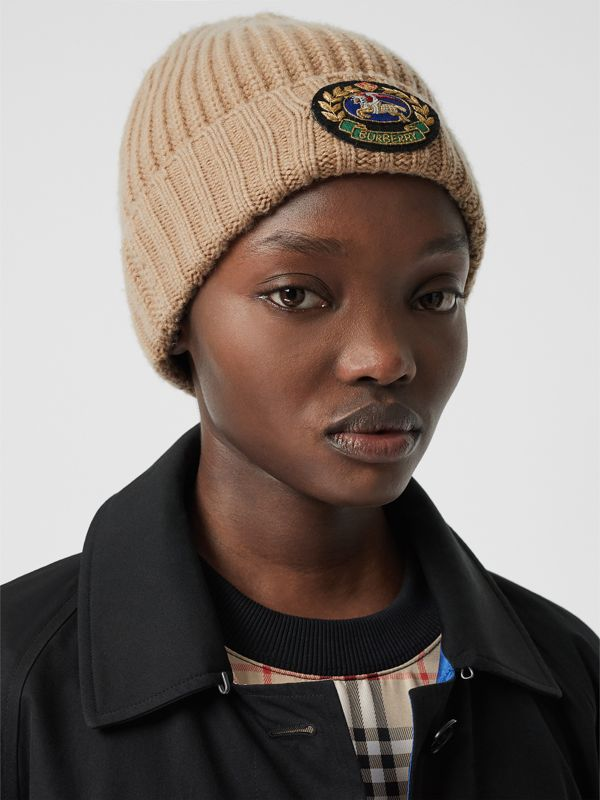 Embroidered Crest Rib Knit Wool Cashmere Beanie in Sand | Burberry - cell image 2