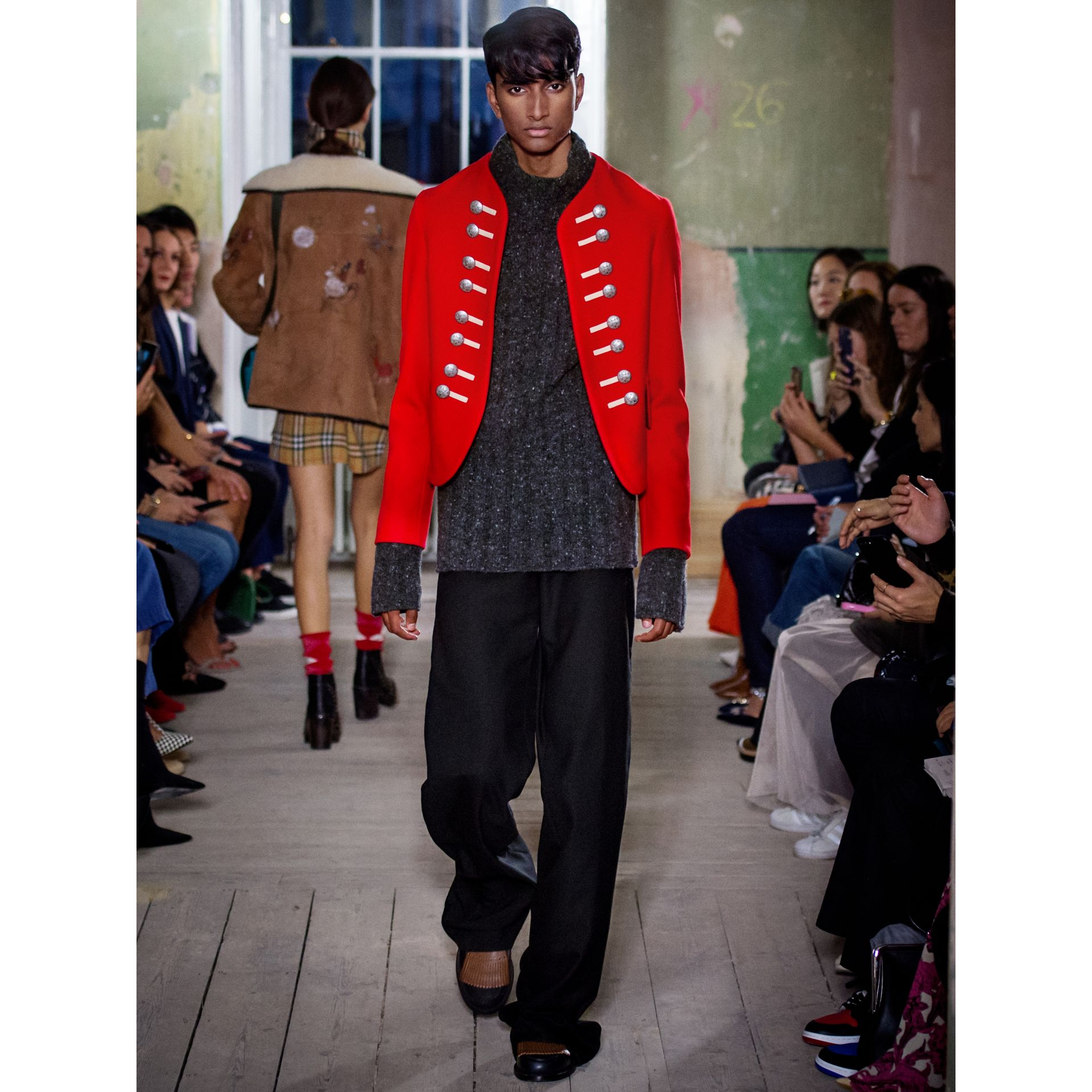 Wool Cropped Ceremonial Jacket in Orange Red - Men | Burberry - gallery image 7