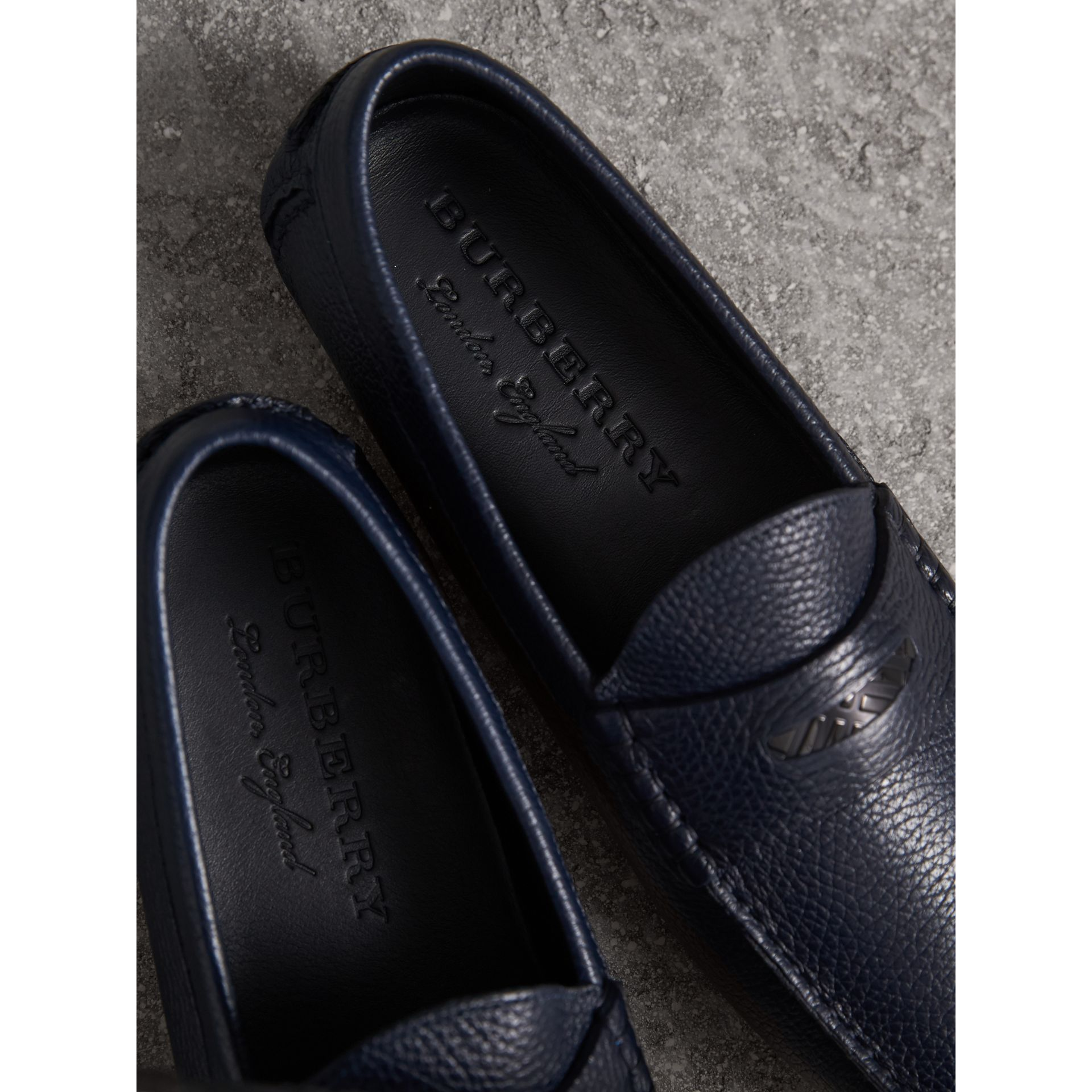 Grainy Leather Loafers with Engraved Check Detail in Navy - Men | Burberry - gallery image 2