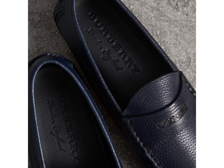 Grainy Leather Loafers with Engraved Check Detail in Navy - Men | Burberry - cell image 1
