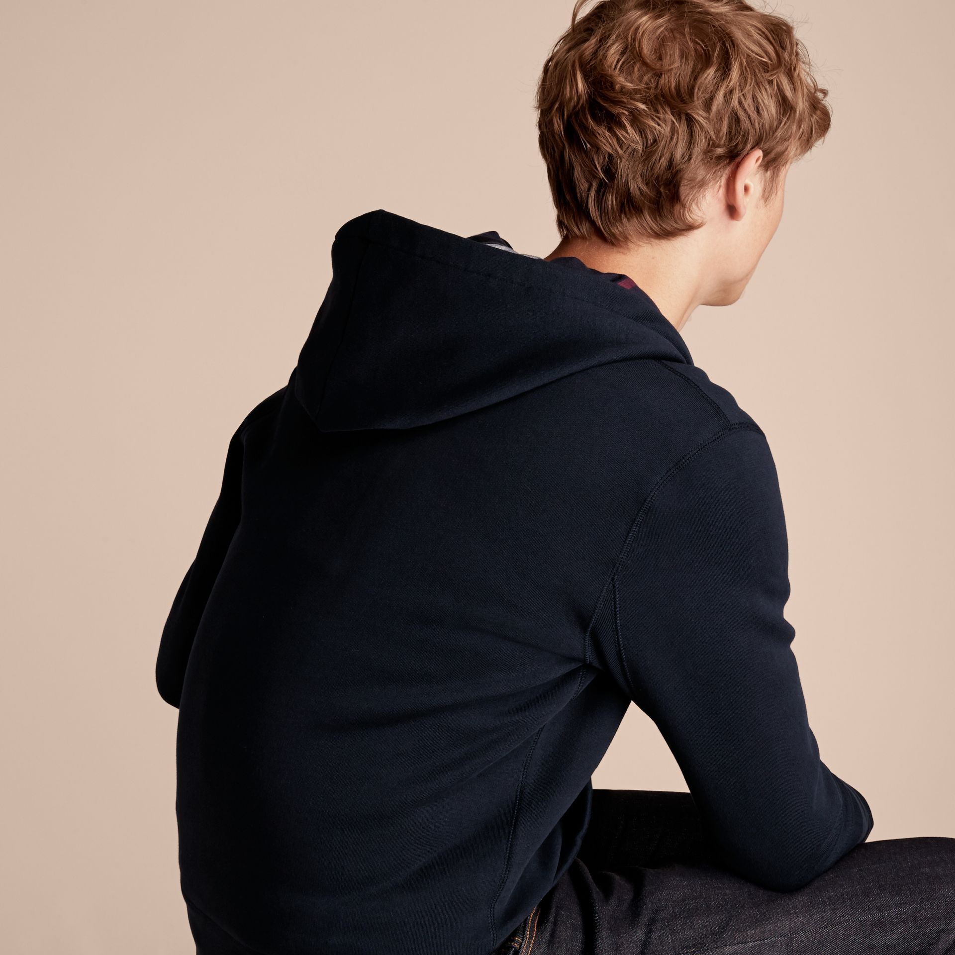 Hooded Cotton Jersey Top Navy - gallery image 3