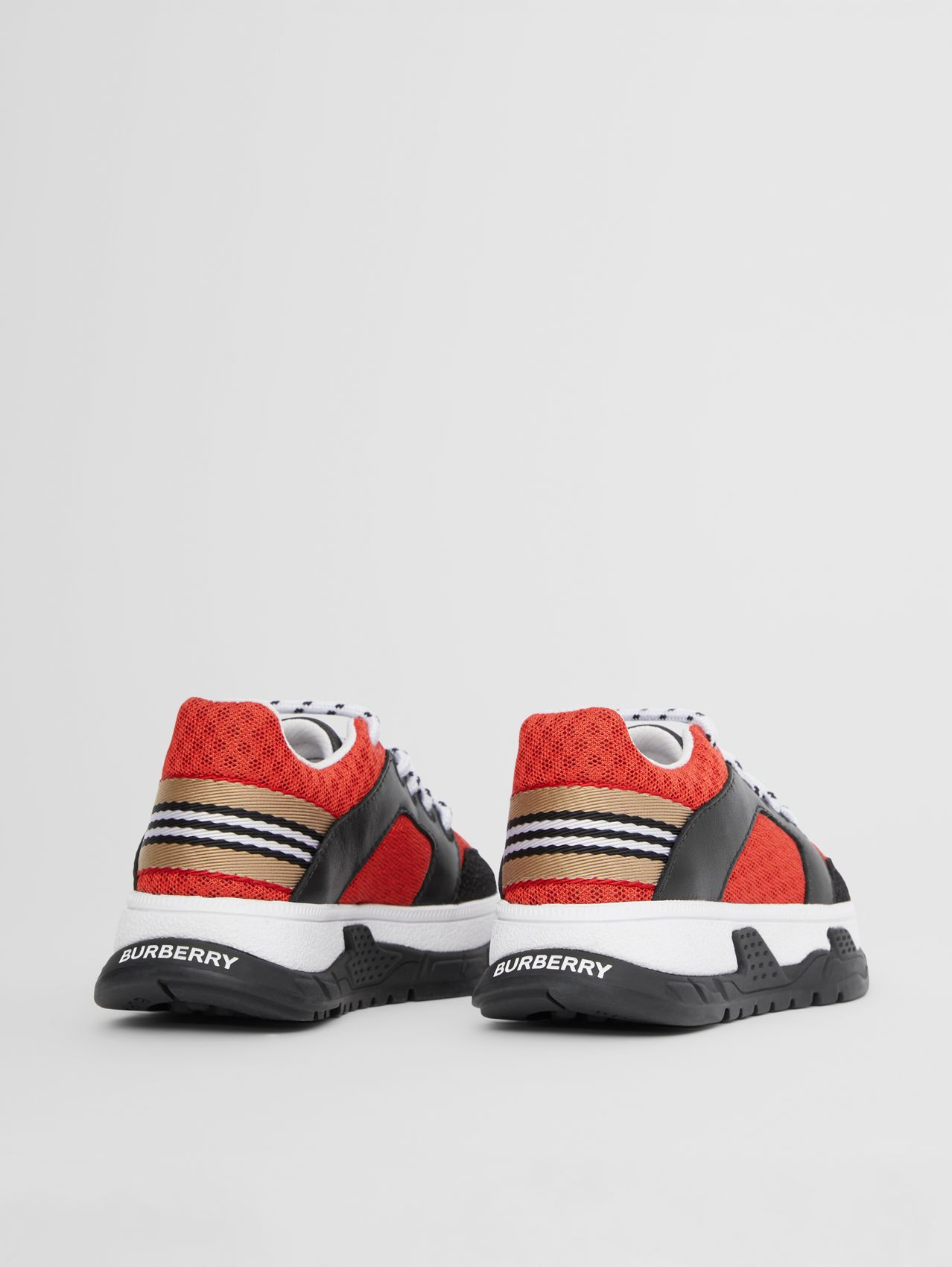 Icon Stripe Detail Mesh and Leather Sneakers in Bright Red