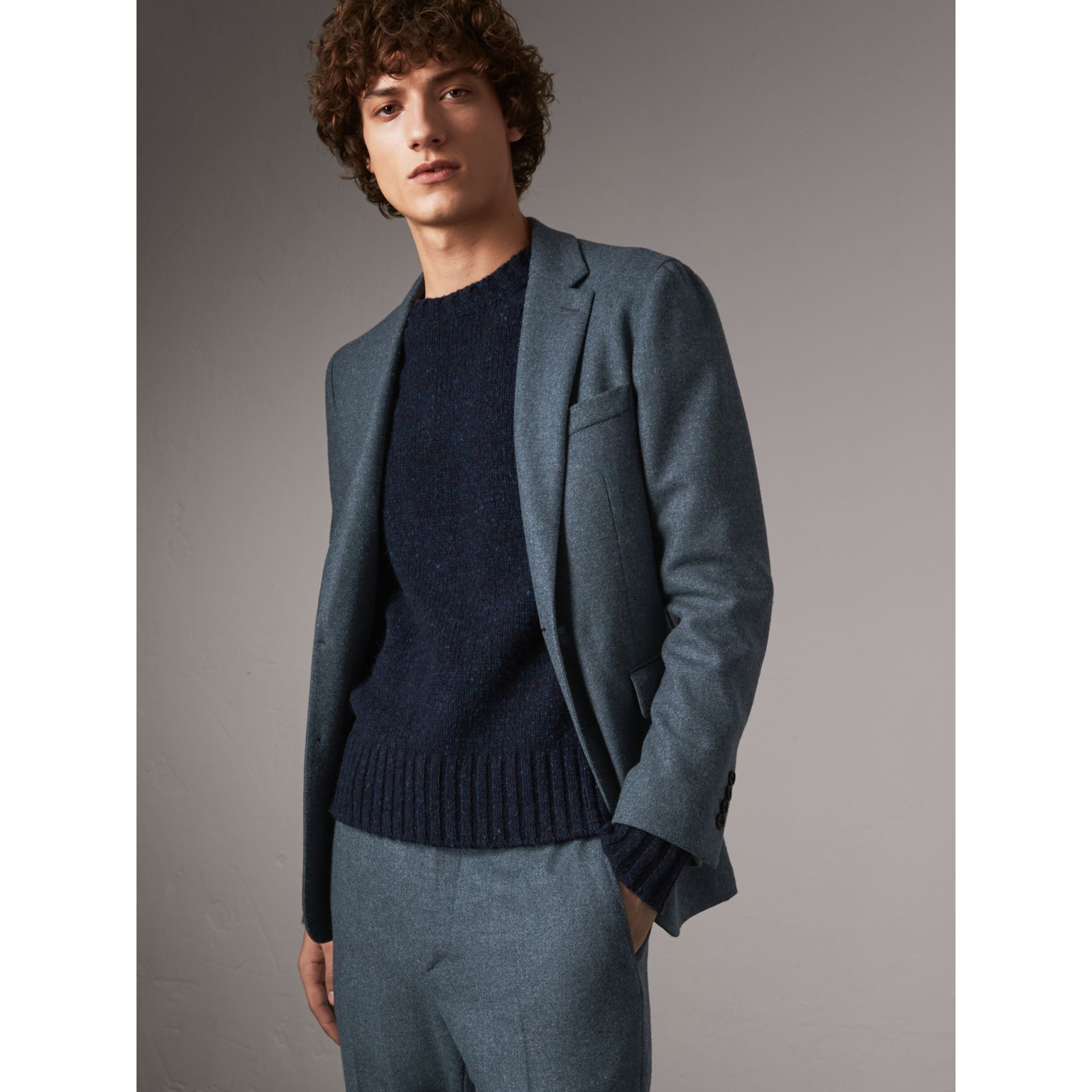 Soho Fit Shetland Wool Tailored Jacket in Dark Airforce Blue - Men | Burberry - gallery image 6