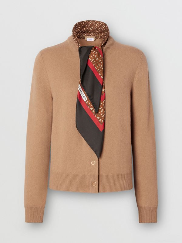 Monogram Print Silk Detail Cashmere Cardigan in Acorn - Women | Burberry - cell image 3