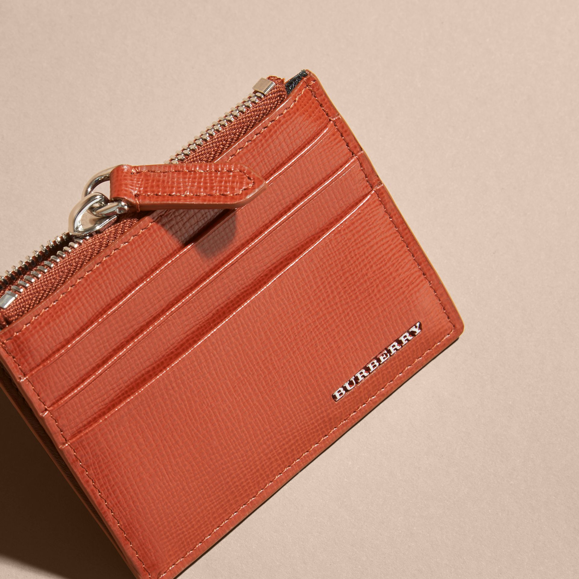 London Leather Zip-top Card Case in Burnt Sienna - gallery image 3