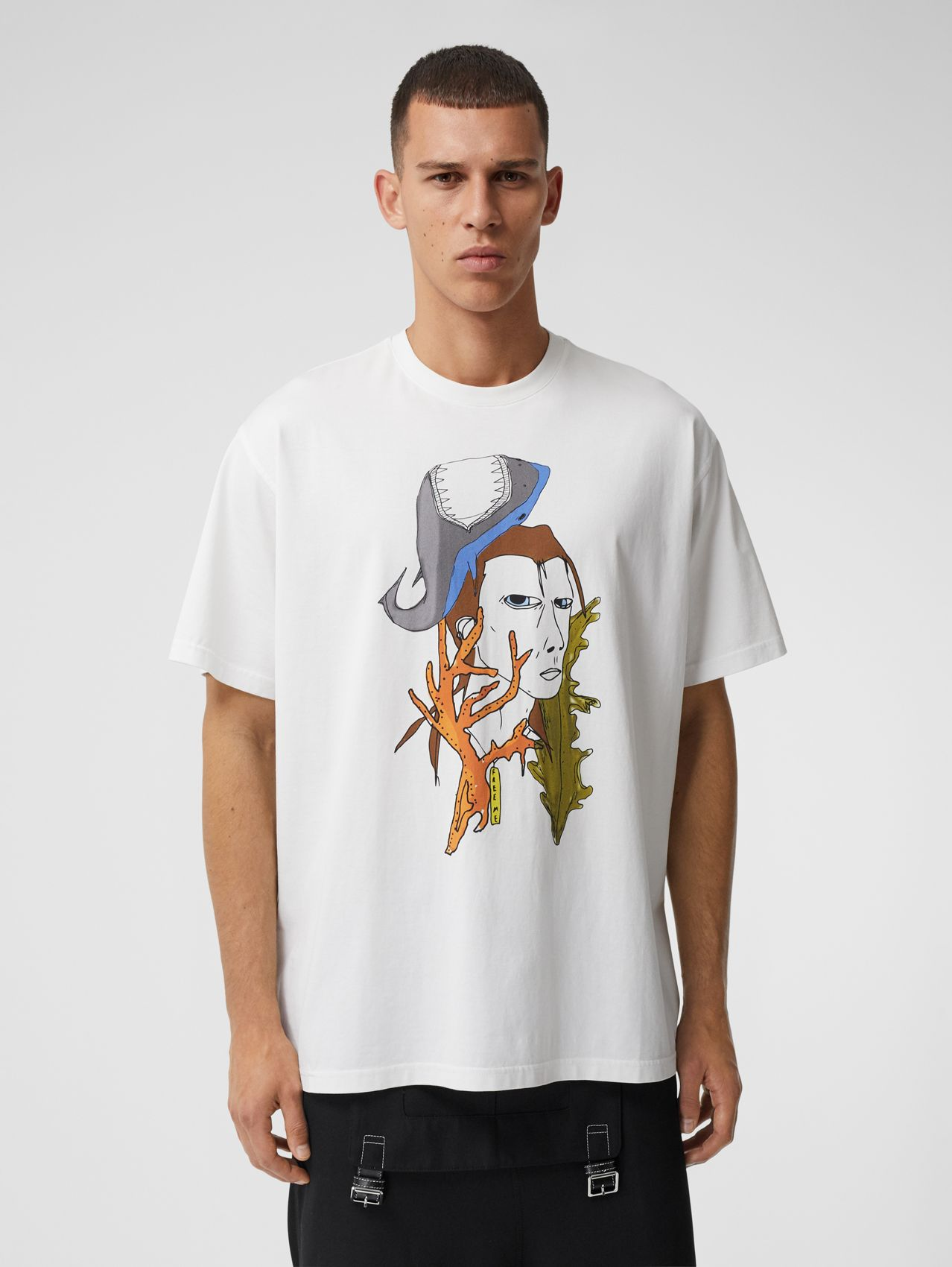 Marine Sketch Print Cotton T-shirt in White