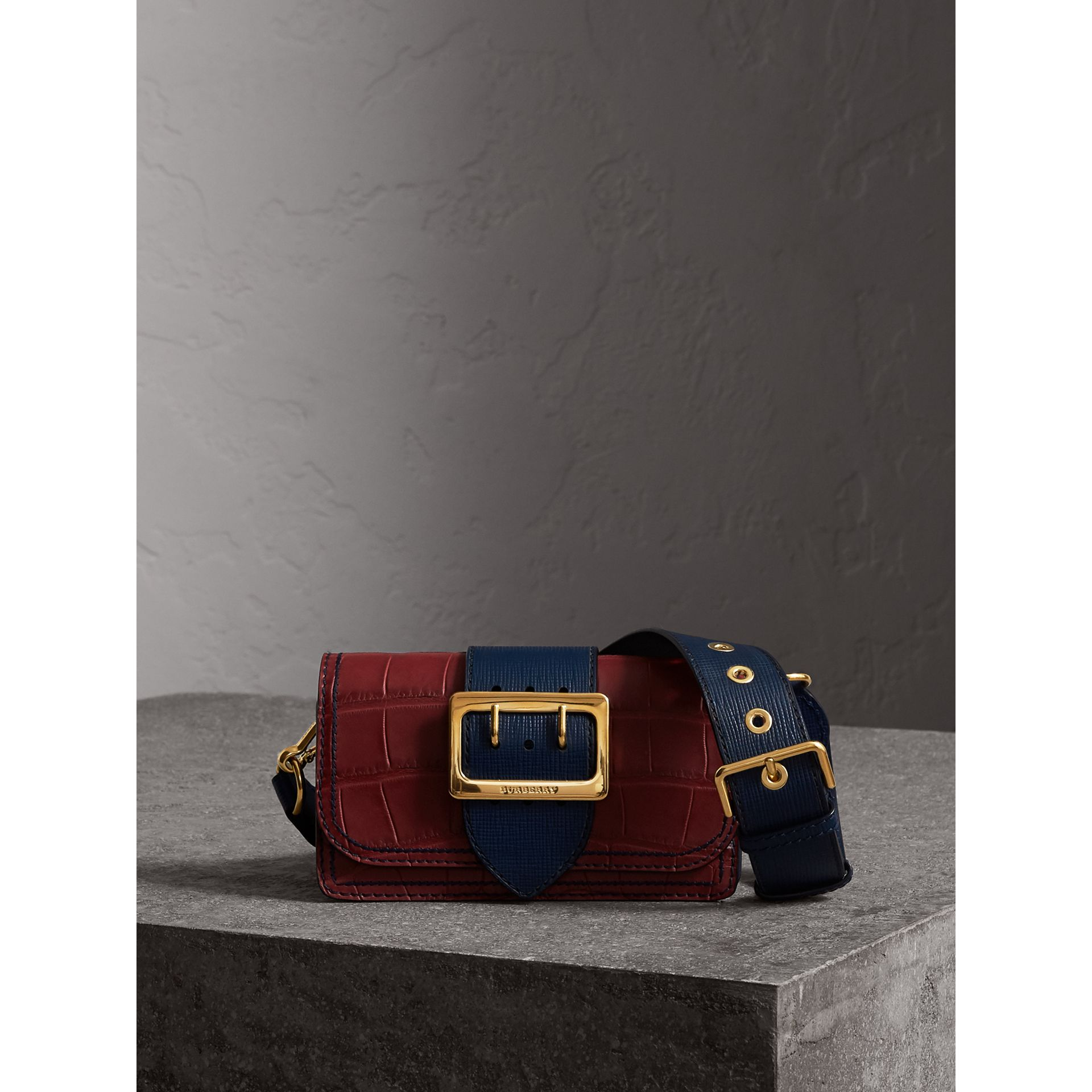 The Small Buckle Bag in Alligator and Leather in Garnet Red/sapphire - Women | Burberry - gallery image 1