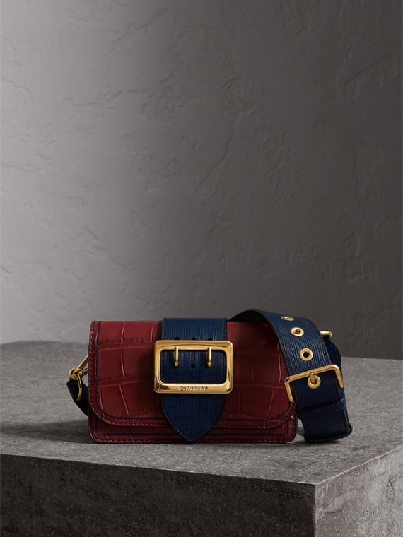 The Small Buckle Bag in Alligator and Leather in Garnet Red/sapphire