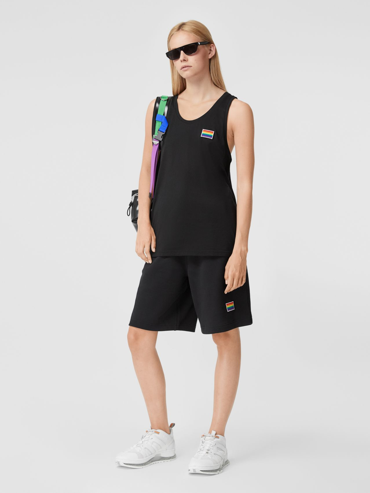Rainbow Appliqué Cotton Drawcord Shorts – Unisex (Black)