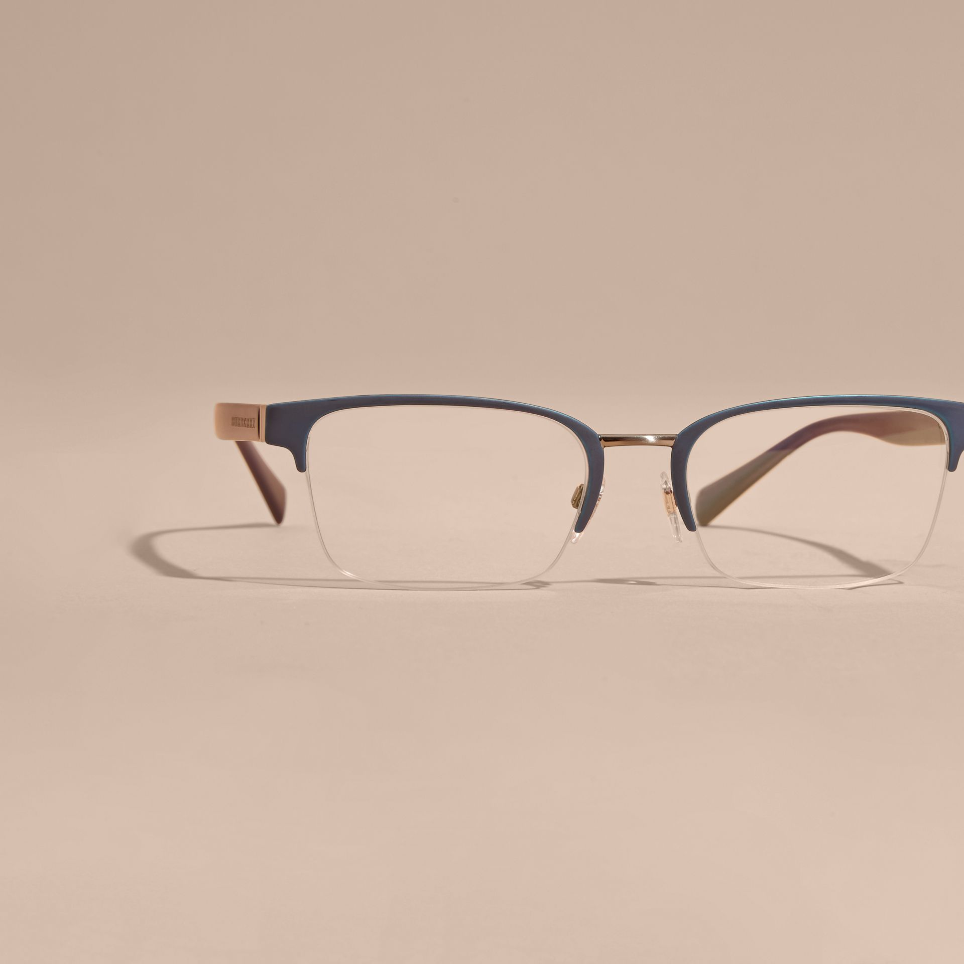 Half-rimmed Rectangular Optical Frames Dark Navy - gallery image 3
