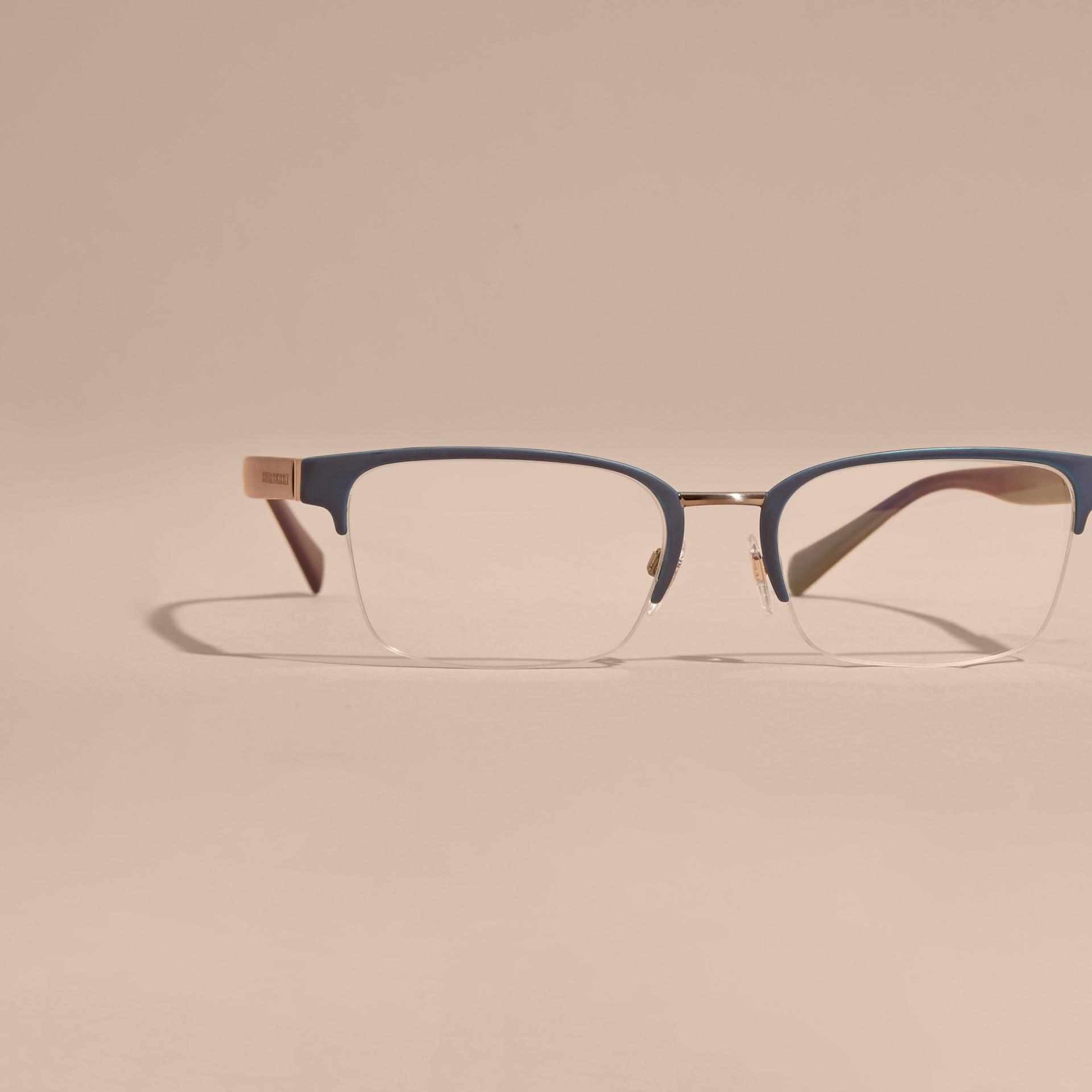 Burberry Half Frame Glasses : Half-rimmed Rectangular Optical Frames Dark Navy Burberry