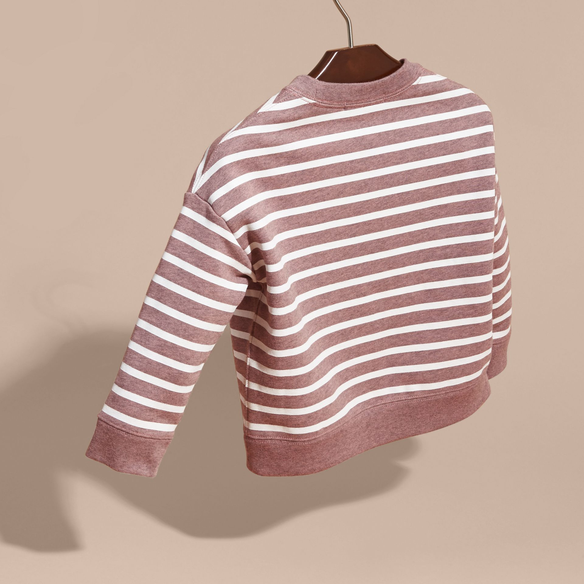 Striped Cotton Sweatshirt in Pink Azalea Melange - gallery image 4