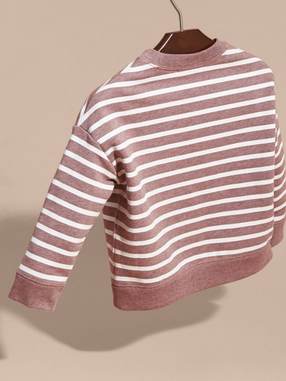 Striped Cotton Sweatshirt in Pink Azalea Melange - cell image 3