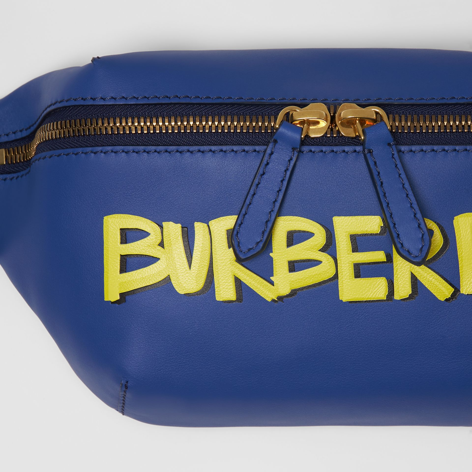 Medium Graffiti Print Leather Bum Bag in Denim Blue | Burberry - gallery image 1