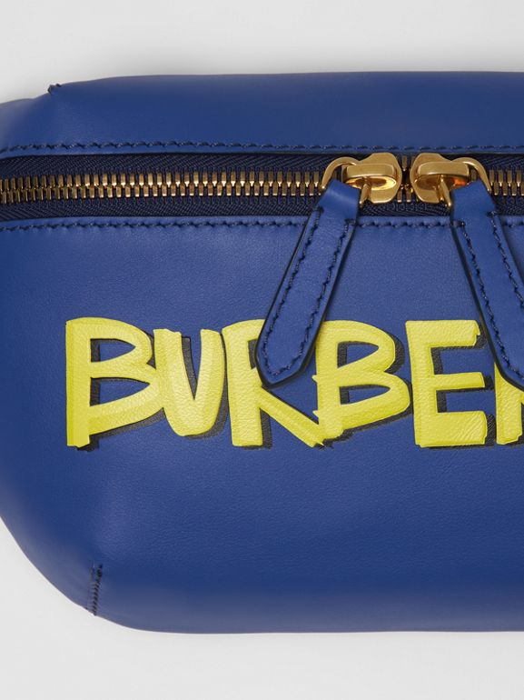 Medium Graffiti Print Leather Bum Bag in Denim Blue | Burberry - cell image 1