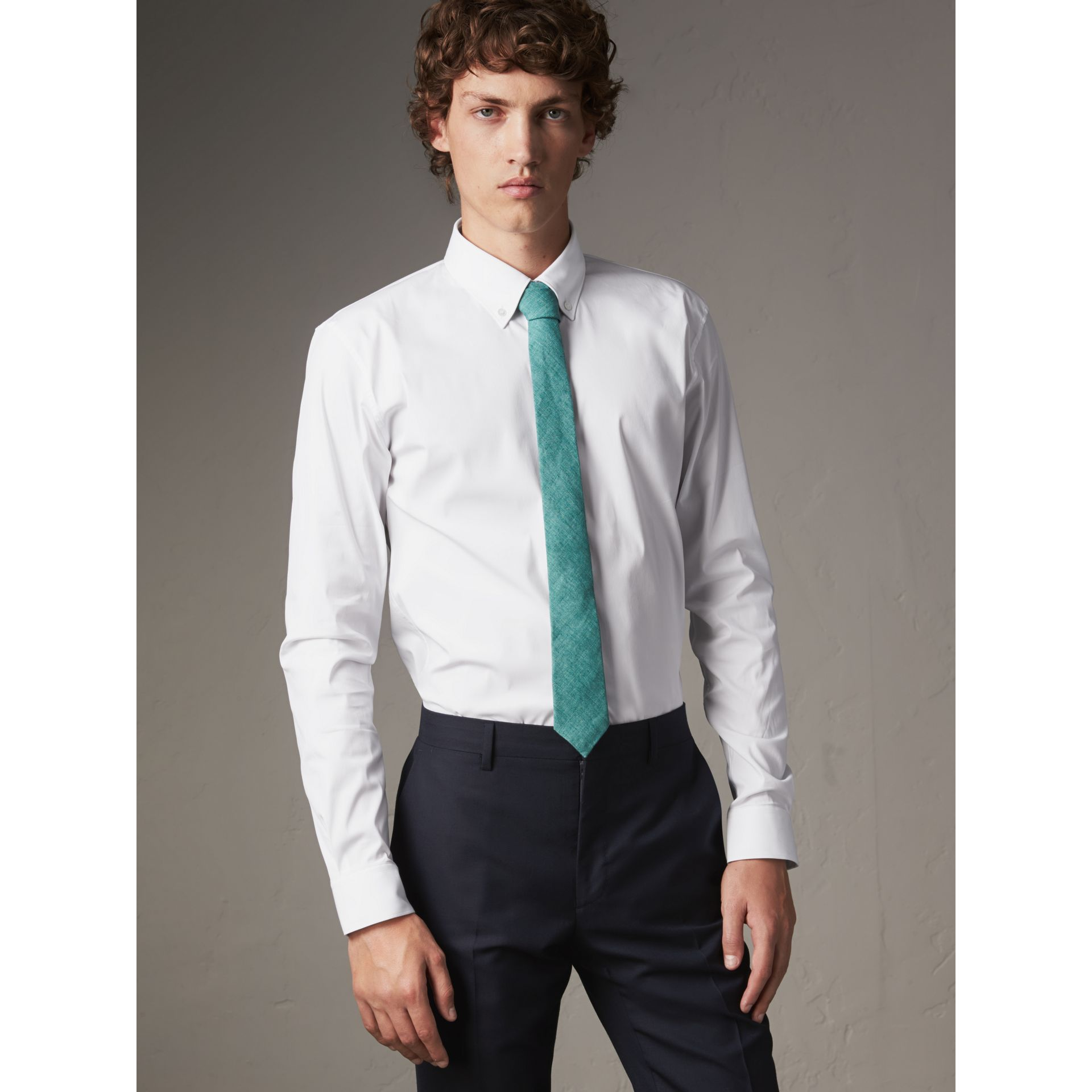 Slim Fit Button-down Collar Stretch-cotton Shirt in White - Men | Burberry Australia - gallery image 1