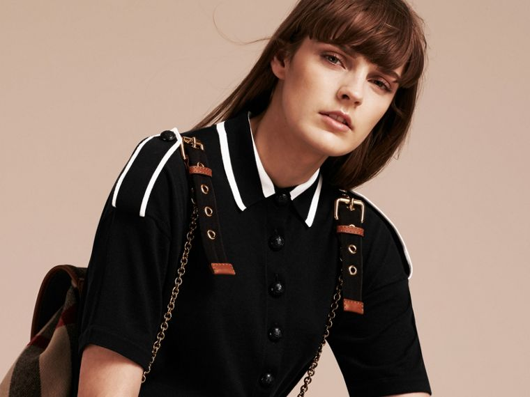Black/white Striped Collar Wool Polo Shirt - cell image 4