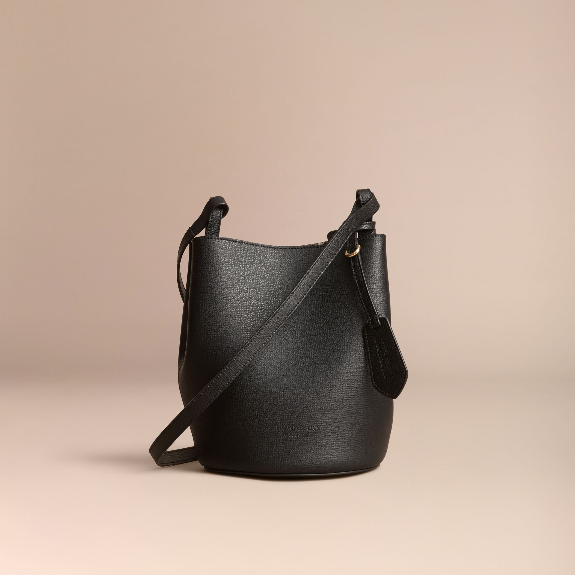 Leather and Haymarket Check Crossbody Bucket Bag in Black - Women | Burberry Singapore - gallery image 7
