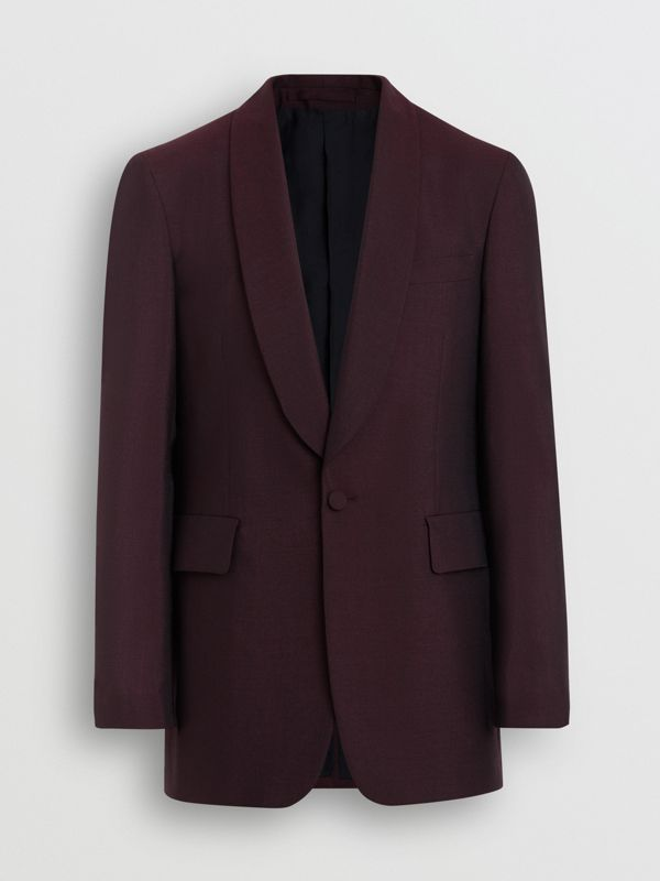 Classic Fit Mohair Evening Jacket in Deep Burgundy - Men | Burberry - cell image 3