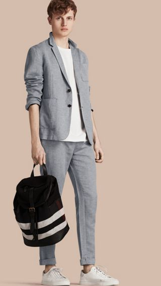 Herringbone Linen Cotton Tailored Jacket