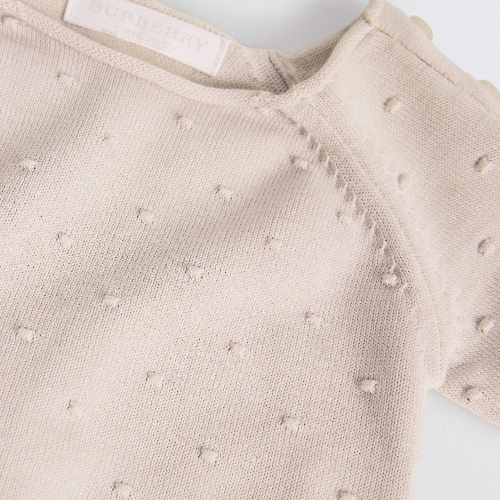 Bobble Knit Cotton Two-piece Baby Gift Set in Stone - Children | Burberry Singapore - gallery image 1