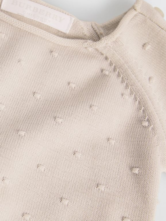 Bobble Knit Cotton Two-piece Baby Gift Set in Stone - Children | Burberry Singapore - cell image 1