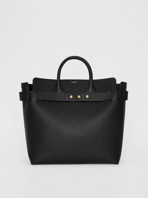The Large Leather Triple Stud Belt Bag in Black