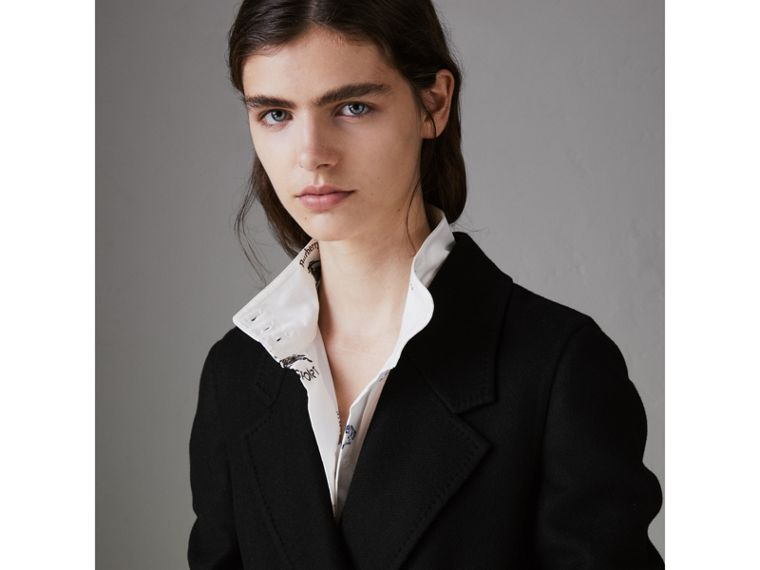 Double-breasted Cashmere Tailored Coat in Black - Women | Burberry - cell image 4