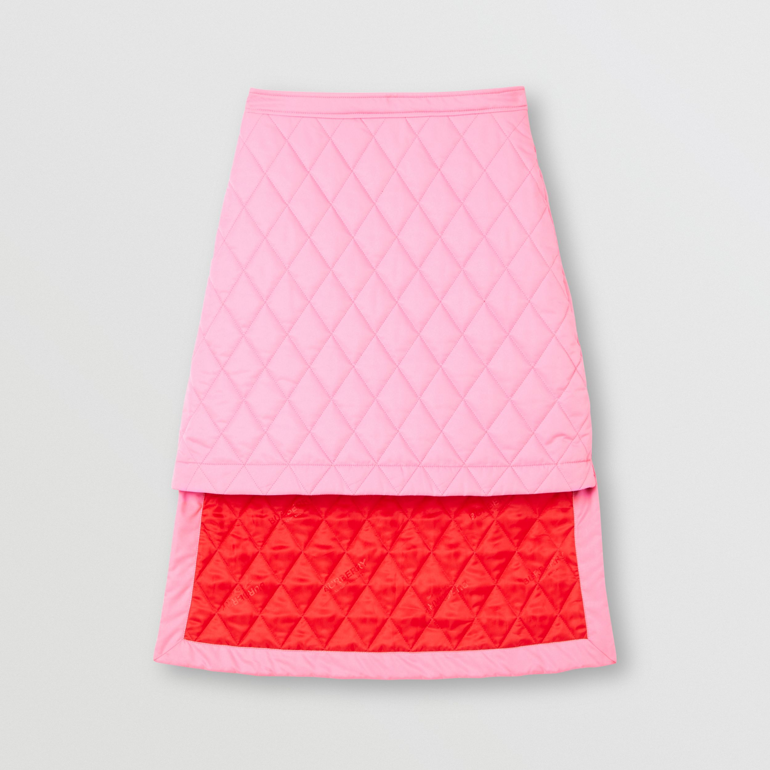 Asymmetric Diamond Quilted Skirt in Bubblegum Pink - Women | Burberry - 4