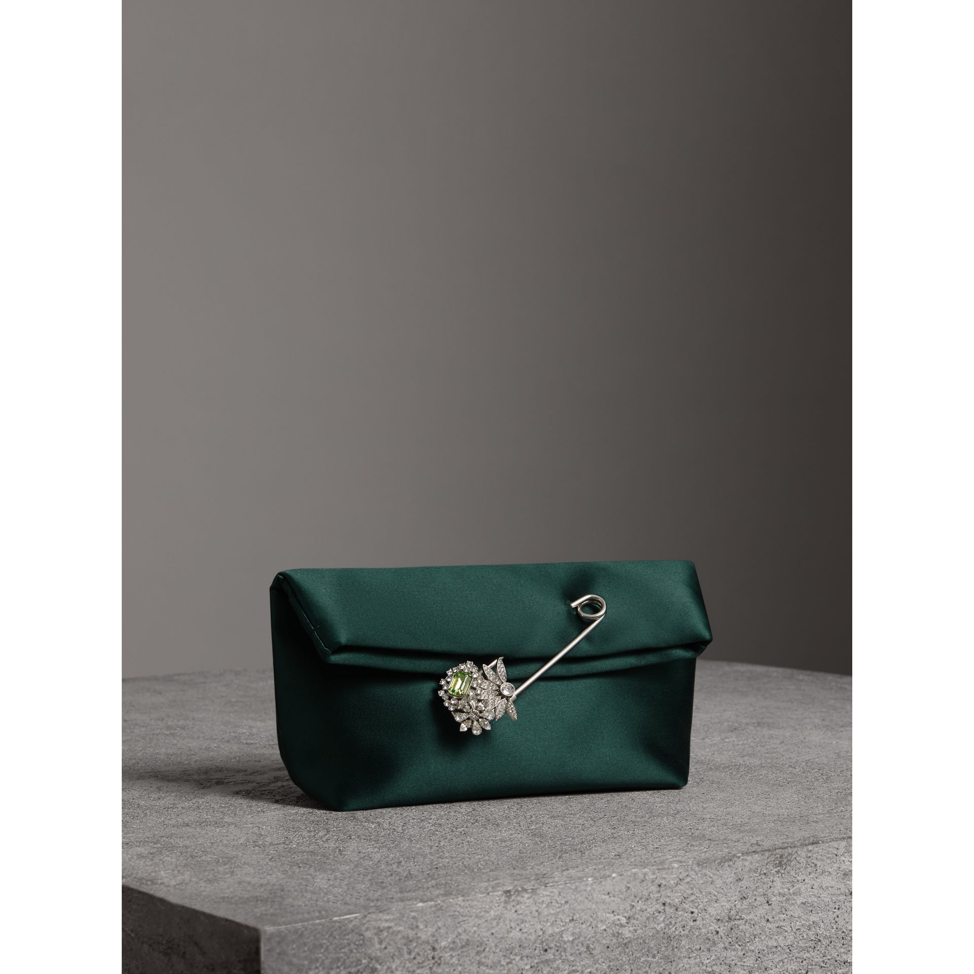 The Small Pin Clutch in Satin in Dark Forest Green - Women | Burberry United Kingdom - gallery image 6