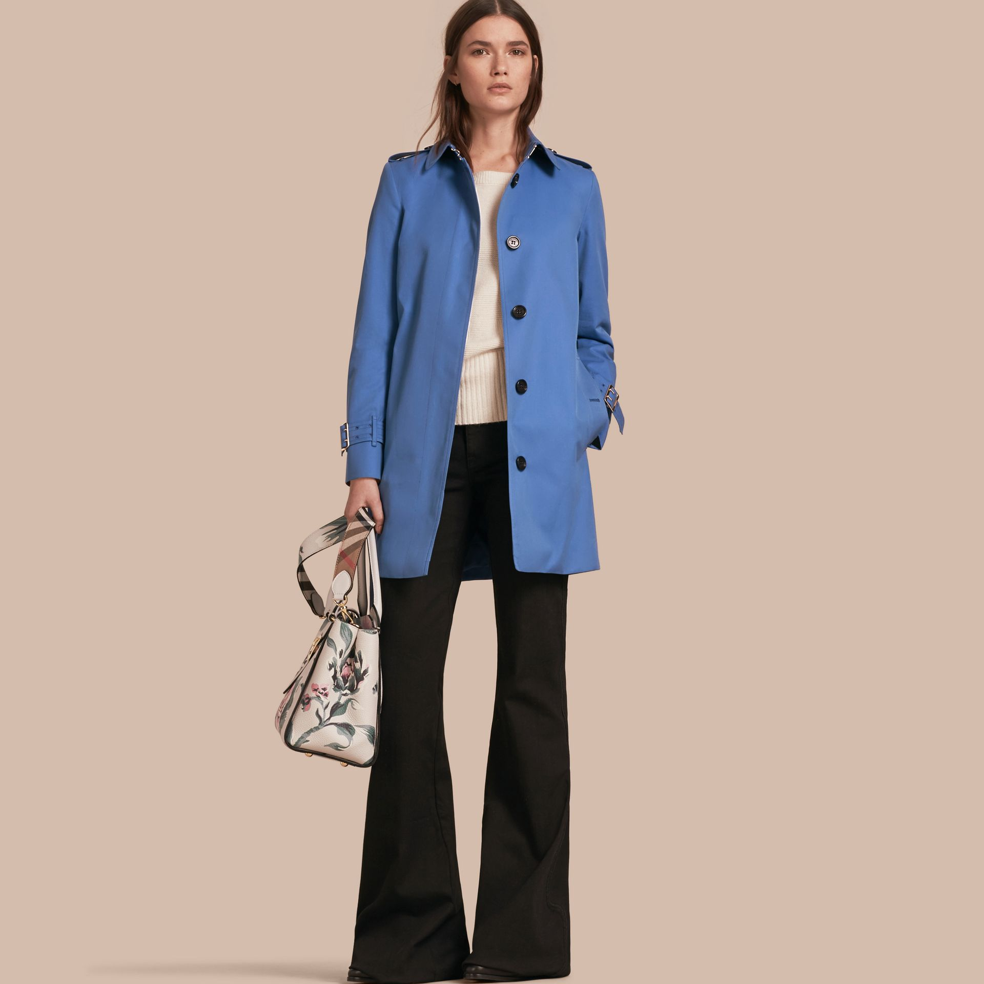 Bright steel blue Single-breasted Trench Coat with Metal Buckle Detail Bright Steel Blue - gallery image 1