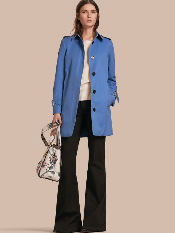 Single-breasted Trench Coat with Metal Buckle Detail Bright Steel Blue