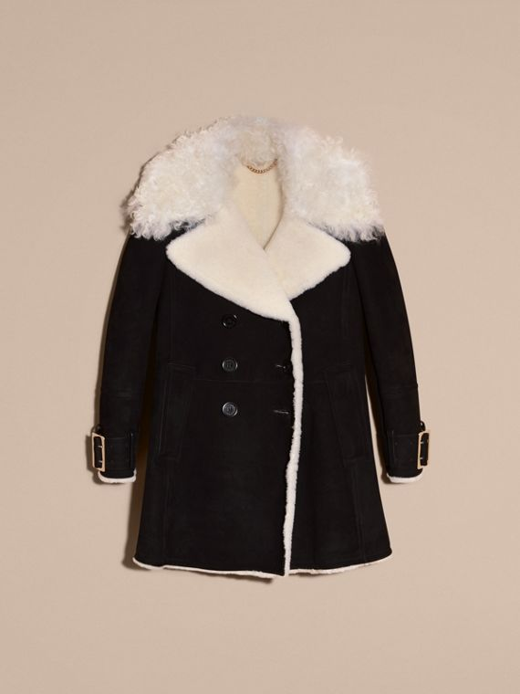 Black Double-breasted Suede and Shearling Coat - cell image 3