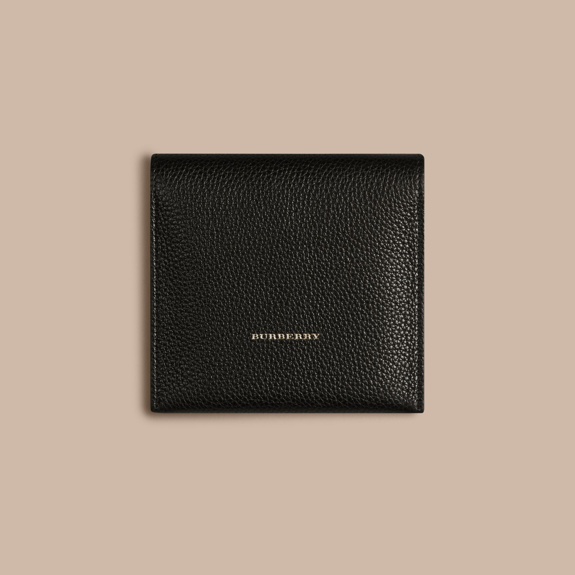 Grainy Leather Cufflink Case in Black - Men | Burberry - gallery image 3
