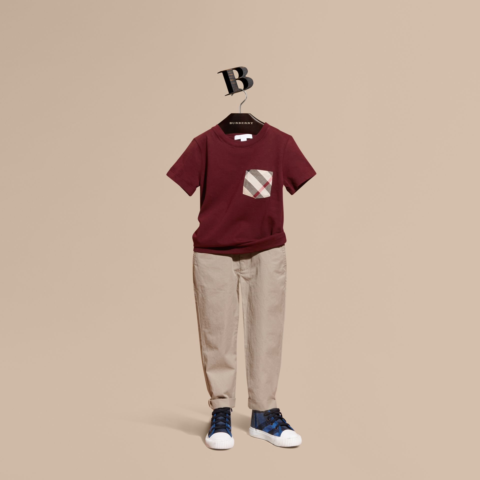 Cotton Chinos in Taupe - Boy | Burberry - gallery image 1